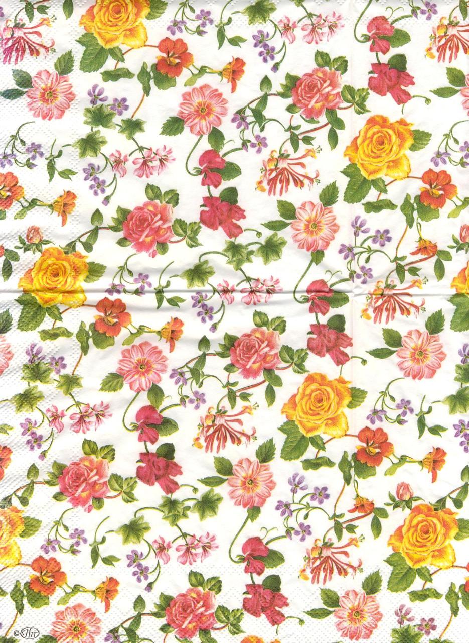 Салфетка декупажная Вьющиеся розы 5652