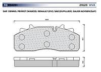 Комплект дисковых тормозных колодок SAF, WVA29126 (29159). FO654281/ 3057008000/ GDB5095
