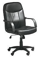 Кресло компьютерное с ручками, офисное черное (кож.зам.)