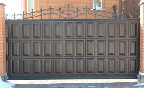 """Кованные откатные ворота """"Филенка"""""""