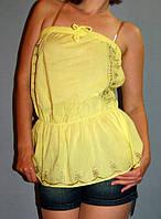 Топ Victoria's Secret без бретелей с вышивкой  лемонный (XS/S)