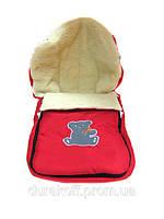 Зимний детский конверт на овчине бордовый / фиолетовый / красный / синий
