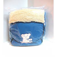 Зимний детский конверт на овчине голубой