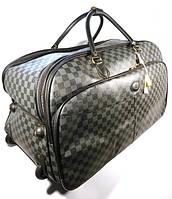 Дорожная сумка LOUIS VUITTON на колесах большая L , шашки, серая