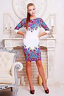 Женское белое платье с цветами