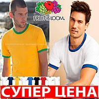 Мужская футболка с цветной окантовкой 100% хлопок 61-168-0