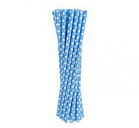 Трубочка картонная голубая в горошек