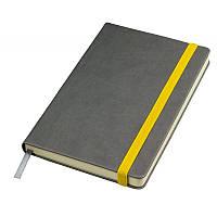 """Бизнес-блокнот """"Fancy"""" серый/желтый на резинке"""