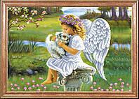Ангелочек с собачкой (Рисунок на ткани)