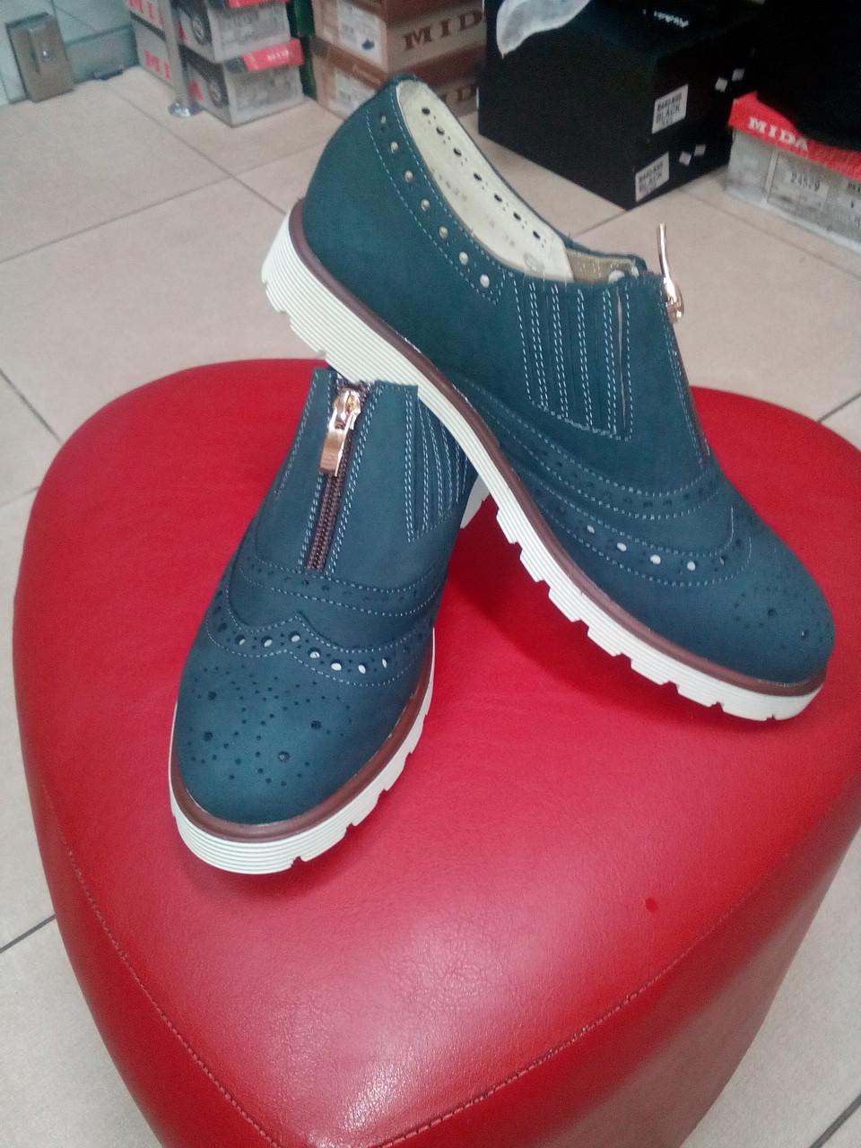 Стильные  туфли из нубука на низком ходу МИДА 21439 цвет мокрый асфальт.