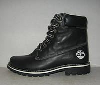 Ботинки женские зимние Timberland кожаные чёрные