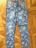 Джинсы  для девочек 3-7 лет. Цветочные светлые джинсы