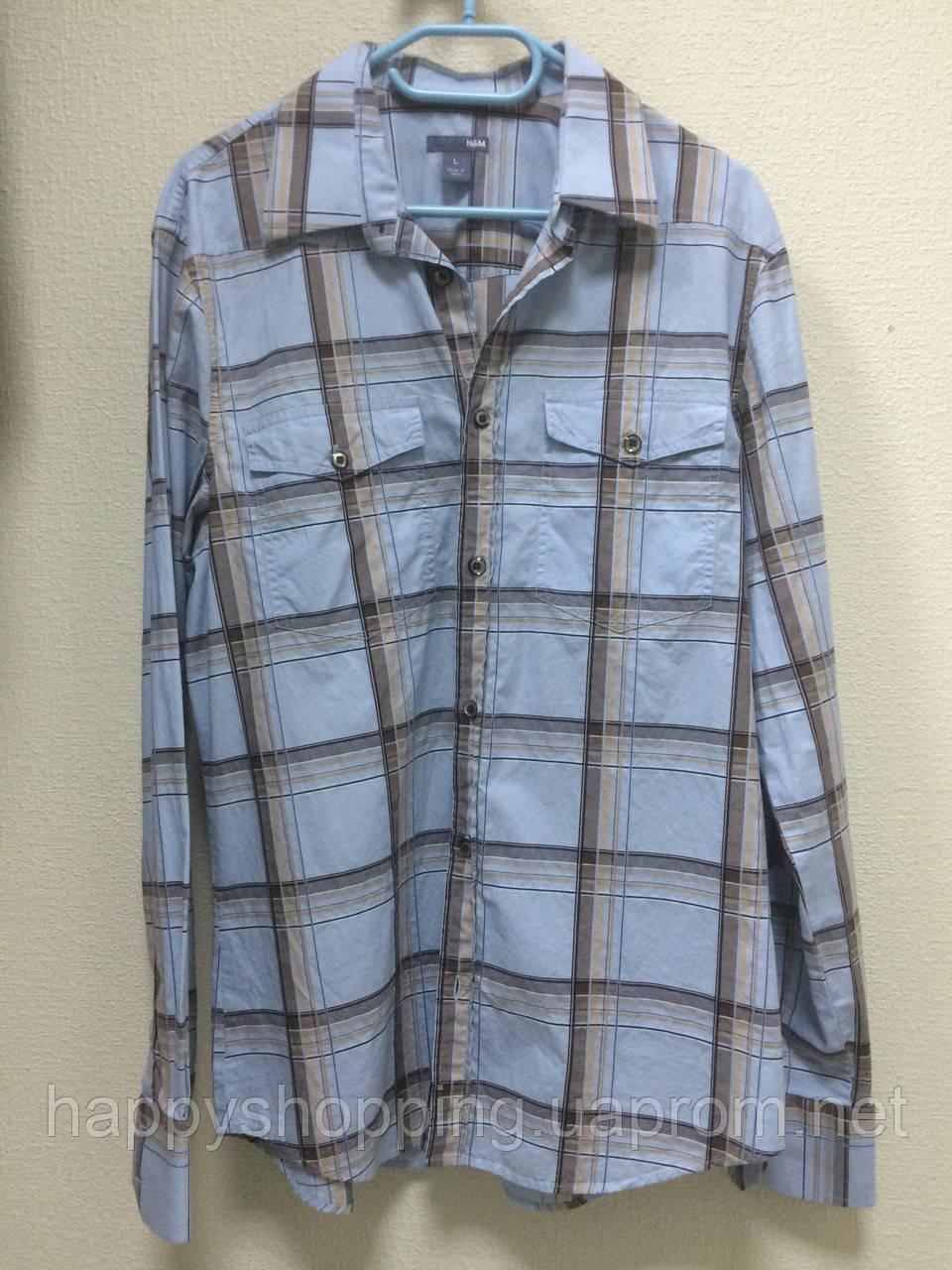 Голубая рубашка в клетку H&M