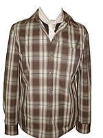 Рубашка мужская клетчатая с карманом и длинным рукавом