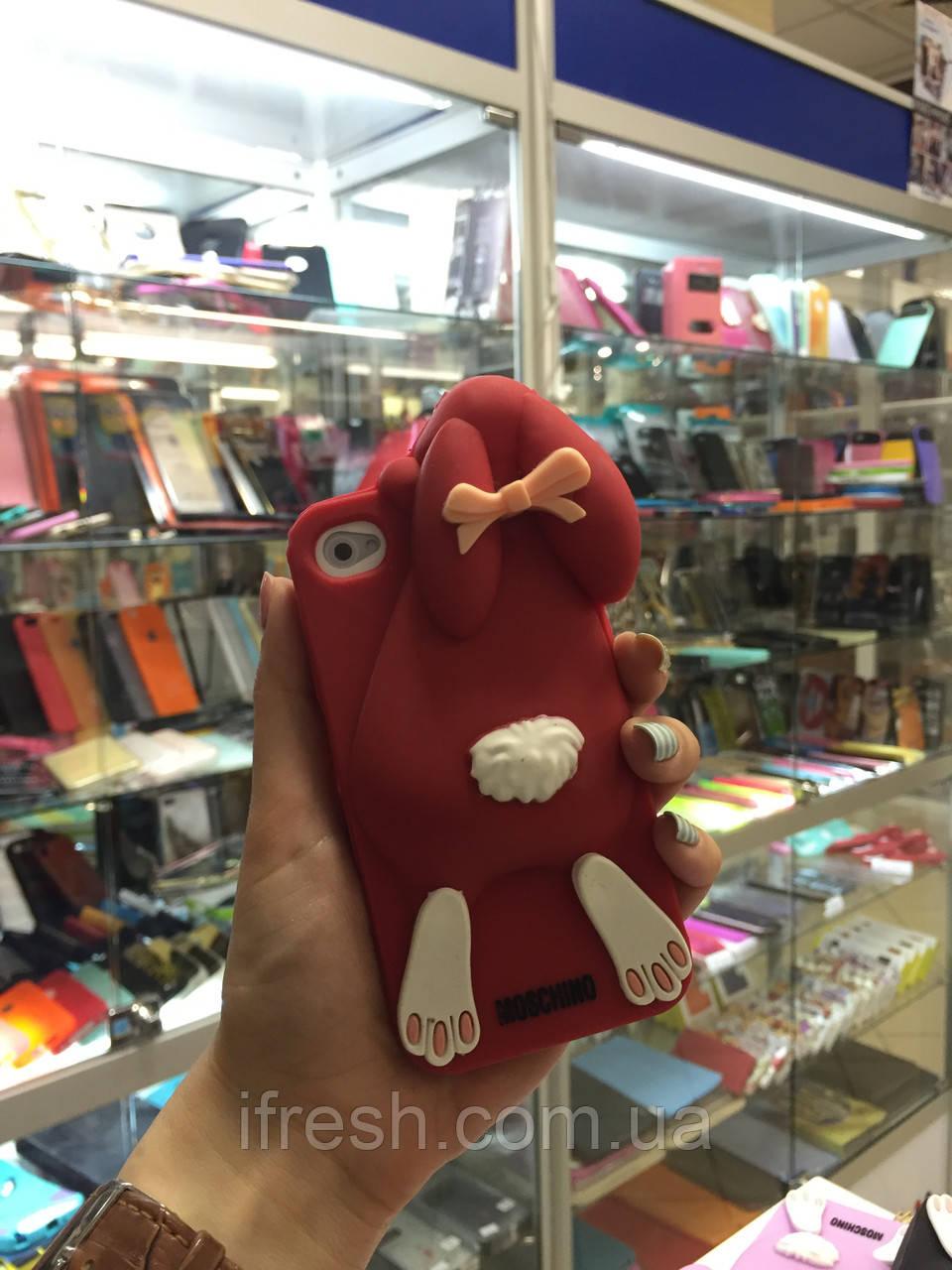 Чехол заяц Moschino для iPhone 5/5S, красный