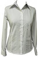 Рубашка женская белая,с длинным рукавом и декоративными строчками