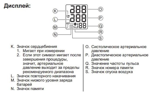 Дисплей полуавтоматического тонометра Oron s1