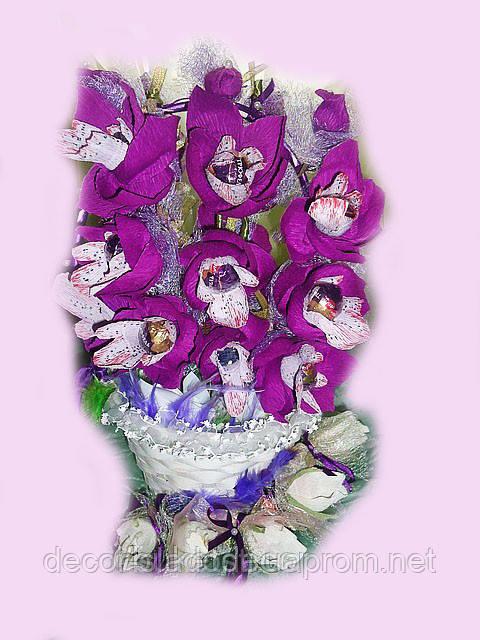 """Букет из конфет""""Корзинка с орхидеями-2"""""""
