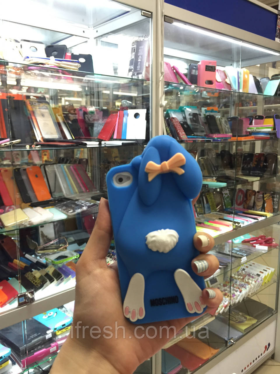 Чехол заяц Moschino для iPhone 4/4S, синий