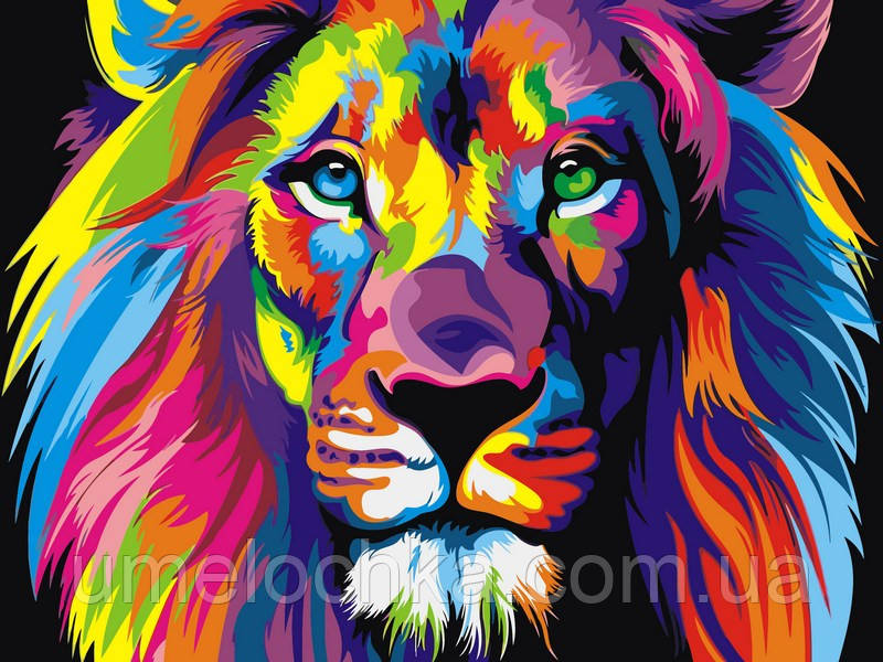 Горизонтальная картина раскраска на холсте Babylon Радужный лев худ. Ваю Ромдони (VK001) 30 х 40 см