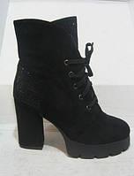 Ботинки демисезонные женские чёрные на каблуке