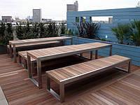 Стол и лавки из натурального дерева для дачи