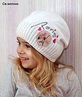 Весенняя вязаная шапка для девочки , фото 1