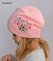 Весенняя вязанная детская шапка для девочки