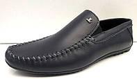 Мокасины мужские LEVEL кожаные черные LL0011