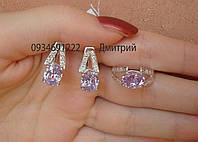 Набор серьги + кольцо арт. 25067 серебро 925