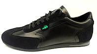 Туфли спортивные мужские Lacoste кожаные черные вставки замша La0004