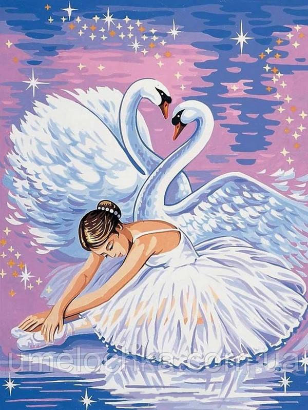 Картина раскраска по номерам на холсте Babylon Лебеди и балерина (VK007) 30 х 40 см