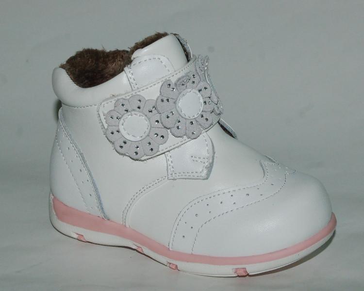 Демисезонные ботинки для девочек Scarlett арт.190 белый. цветы (Размеры  19- d63da85445d8f
