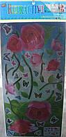 Наклейки-стикеры декоративные интерьерные плоские с голограммой  44 х21 роза