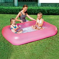 Детский надувной прямоугольный бассейн BestWay 51115P, розовый