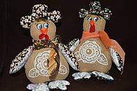"""Кофейная игрушка , украшение для корзины """"Курица-кокетка с шарфиком"""",110/140,21*20 см (ручная работа)"""