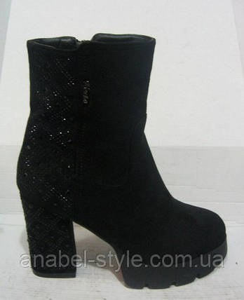Ботинки женские зимние на каблуке замшевые, фото 2