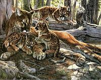 Алмазная вышивка Леопард с детенышами KLN 20 х 25 см (арт. FS070)