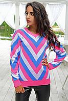 Стильный трехцветный свитер