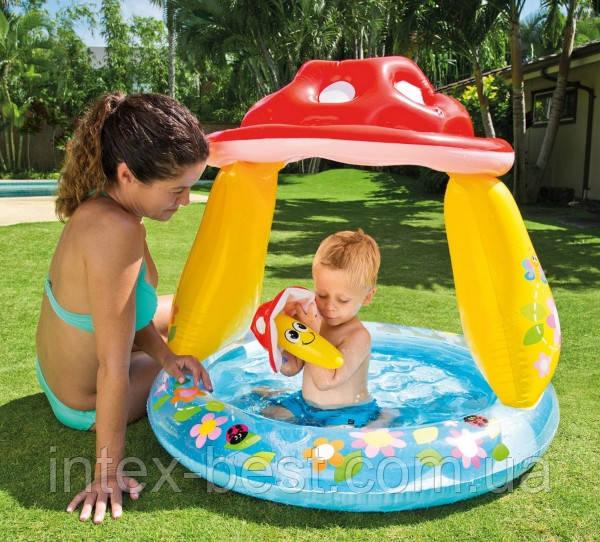 Надувной детский бассейн с навесом Грибок Intex 57114