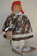 """Кофейная игрушка , символ года  """"Курица-модняшка вплатье прованс"""",250/210,38 см (ручная работа)"""