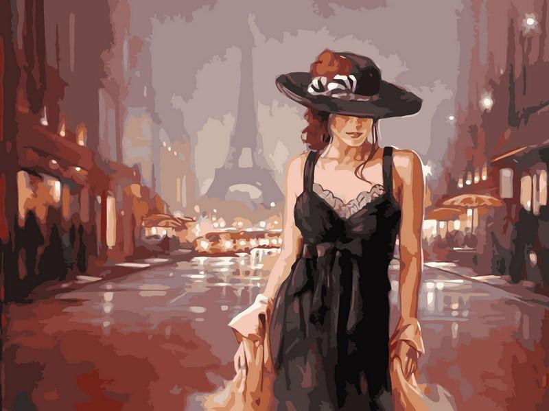 Раскраска по цифрам 40×50 см. Париж в стиле ретро Художник Марк Спейн