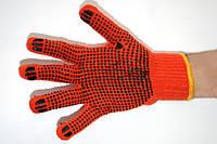 Перчатки х/б вязаные с ПВХ оранжевые 3 нити, 7 класс, фото 1