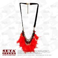 """Прокат. Колье (ожерелье)  """"Гламур"""" с красными перьями"""