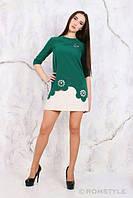 Молодежное платье с перфорацией, декорированное жемчугом ТЕМНО-ЗЕЛЕНОЕ