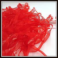 Лента из органзы, 0,6 см,  красная