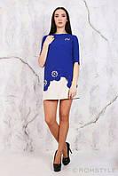 Молодежное платье с перфорацией, декорированное жемчугом ЭЛЕКТРИК