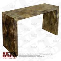 Серый узкий стол оплетённый волокнами из абаки (банановое волокно, мани́льская пенька́) ламинированный