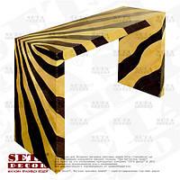 Бежевый с черным стол оплетённый волокнами из абаки (банановое волокно) ламинированный