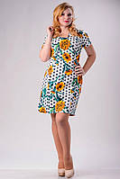 """Стильное платье для пышных дам """" Горох-цветы """" Dress Code, фото 1"""